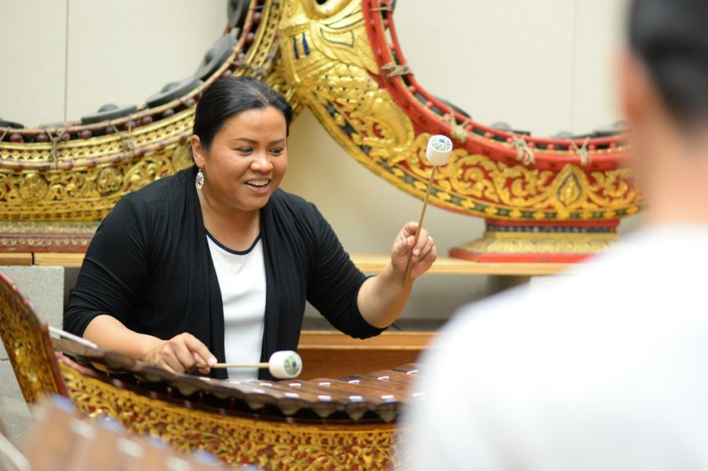 Supeena Adler, curator of the World Musical Instrument Collection and director of the Music of Thailand Ensemble, leads the afternoon workshop on Thai classical music.